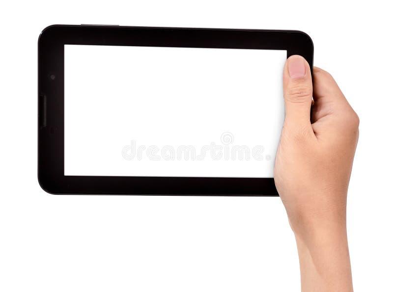 Mano femenina que celebra un tacto de la tableta imagenes de archivo