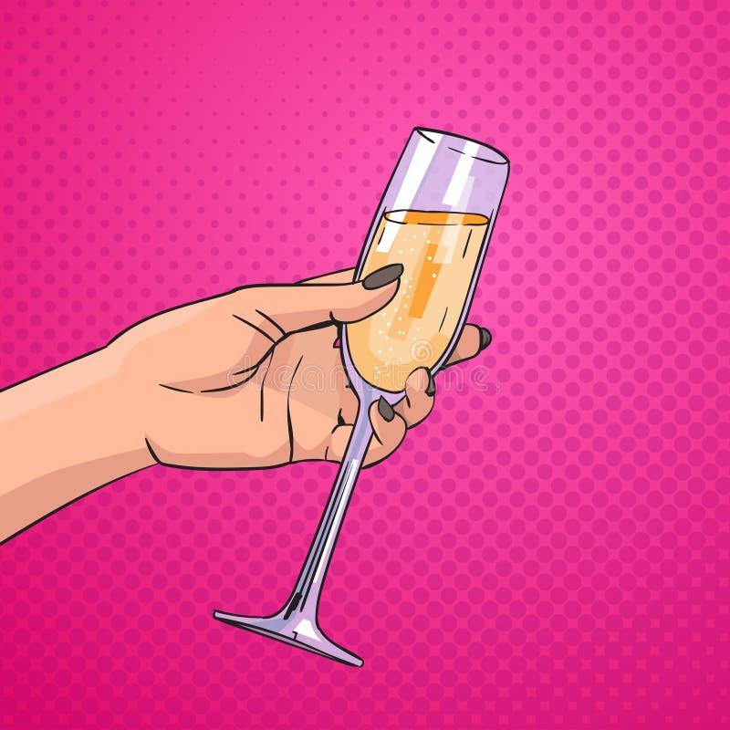 Mano femenina que detiene a Champagne Wine Pop Art Retro de cristal Pin Up Background ilustración del vector