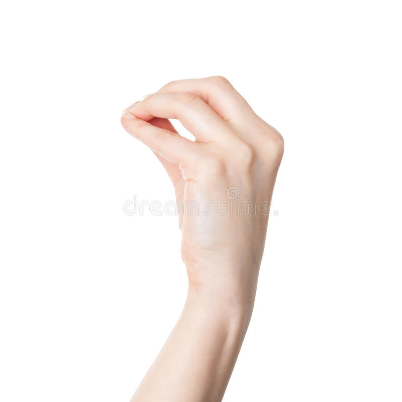 Mano femenina que hace un gesto italiano de la discusión aislado imágenes de archivo libres de regalías