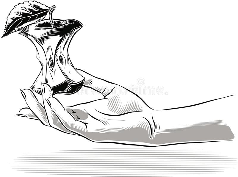 Mano femenina que lleva a cabo una base de la manzana libre illustration