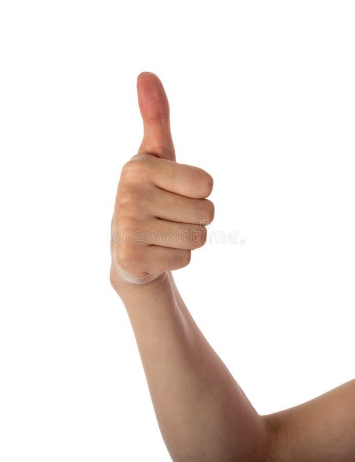 Mano femenina que muestra el pulgar para arriba foto de archivo libre de regalías