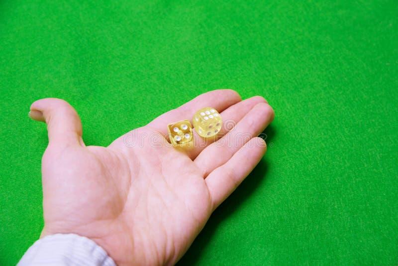 Mano femenina que sostiene dados amarillos en un fondo del paño verde fotos de archivo
