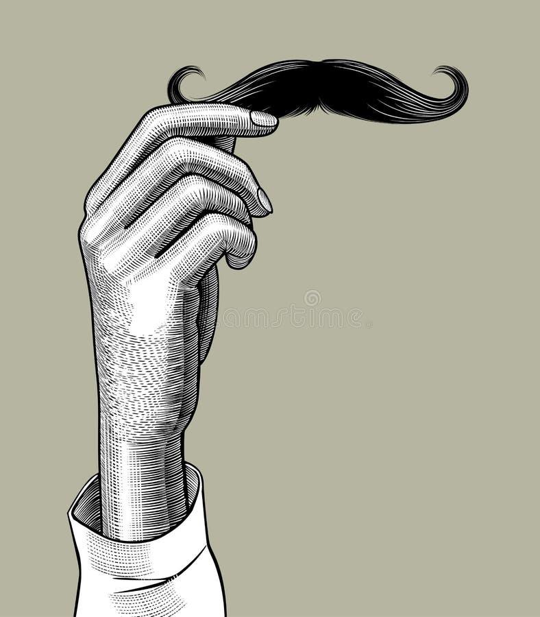 Mano femenina que sostiene un bigote masculino libre illustration