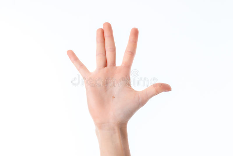 Mano femminile allungata su con le dita alzate e le palme isolate su fondo bianco fotografia stock libera da diritti