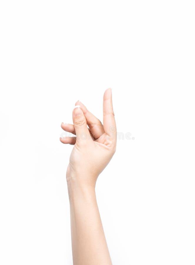 Mano femminile asiatica del primo piano che tiene biglietto da visita virtuale con il dito fotografia stock libera da diritti