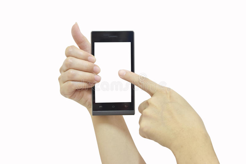 Mano femminile che tiene Smart Phone moderno con lo schermo bianco su briciolo fotografie stock