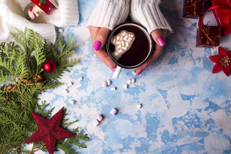 Mano femminile che tiene tazza di cacao caldo immagine stock