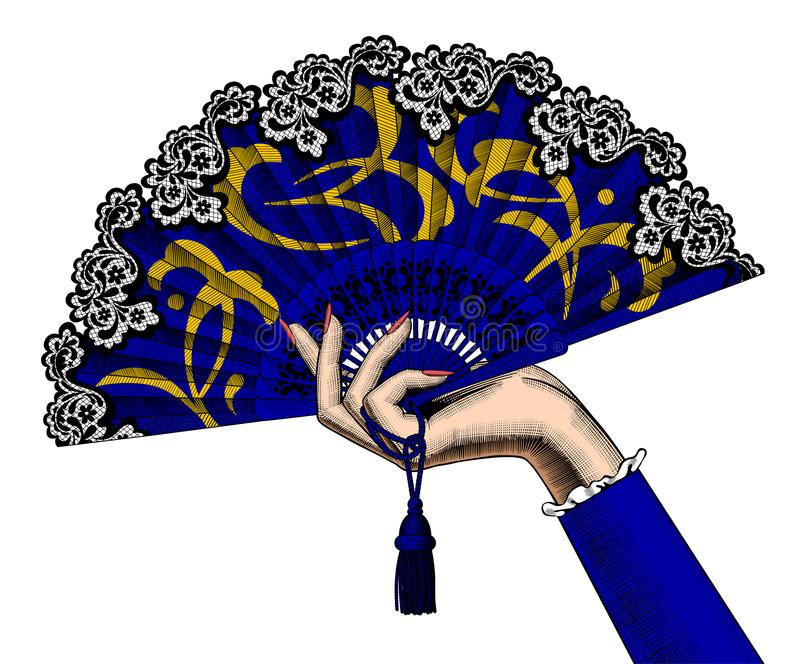 Mano femminile che tiene un fan aperto blu con l'isolato giallo dell'ornamento illustrazione di stock