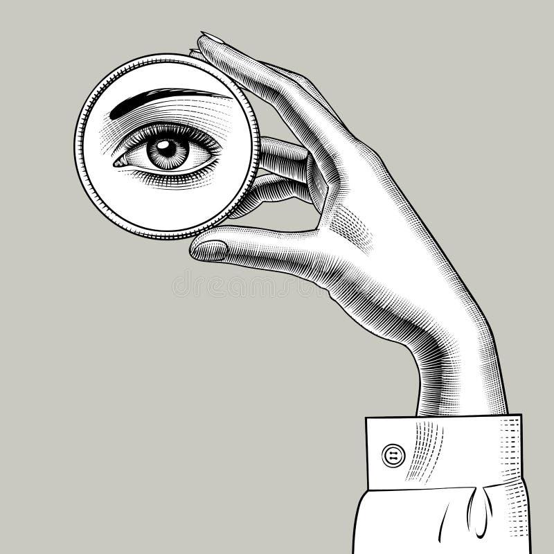 Mano femminile che tiene un piccolo specchio rotondo con una riflessione di He illustrazione vettoriale