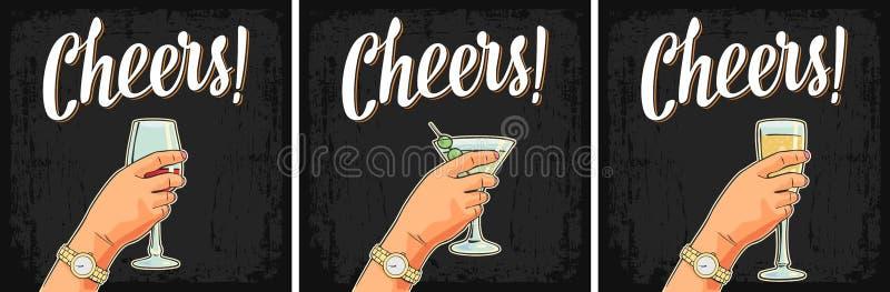 Mano femminile che tiene un vetro del cocktail, vino, champagne illustrazione di stock