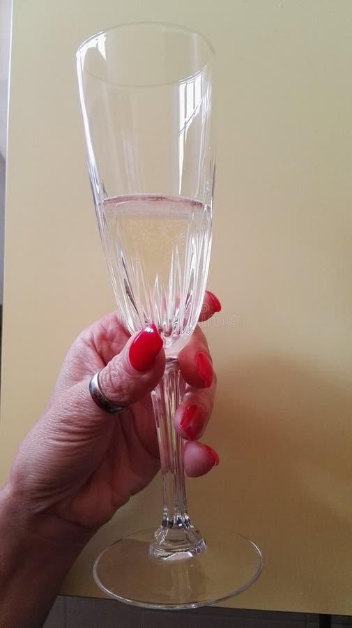 Mano femminile che tiene un vetro di vino bianco immagine stock libera da diritti