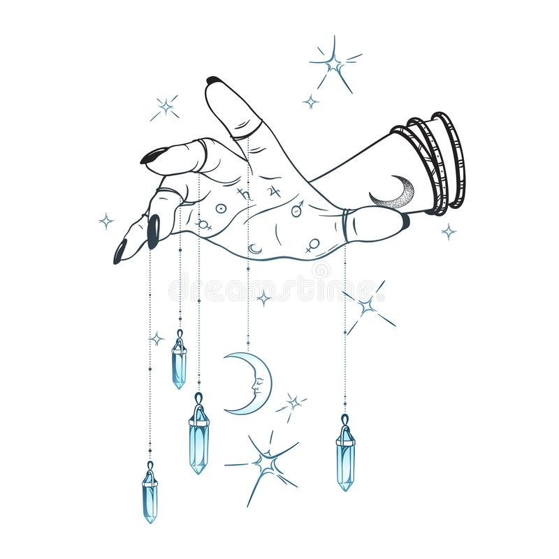 Mano femminile con i pendenti della gemma e l'illustrazione disegnata a mano di vettore della luna Velo elegante del tatuaggio, d illustrazione vettoriale