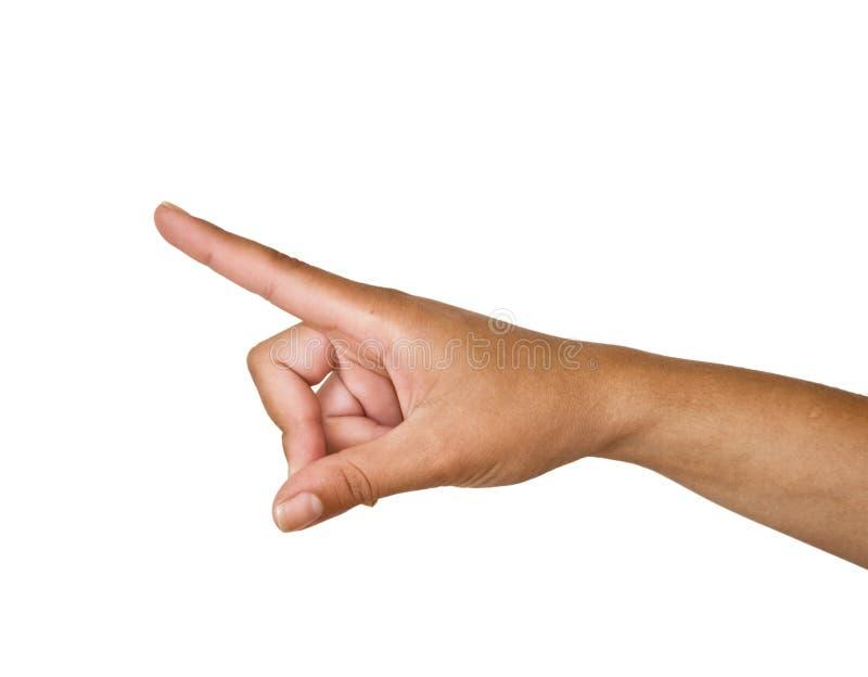 Mano femminile con il dito indice outstretched fotografia stock libera da diritti