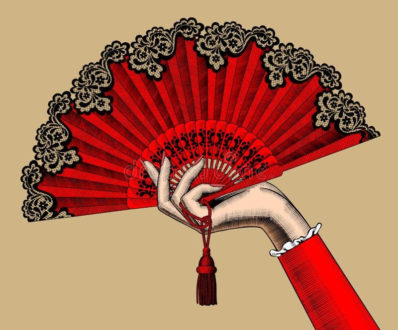 Mano femminile con il fan aperto di rosso royalty illustrazione gratis