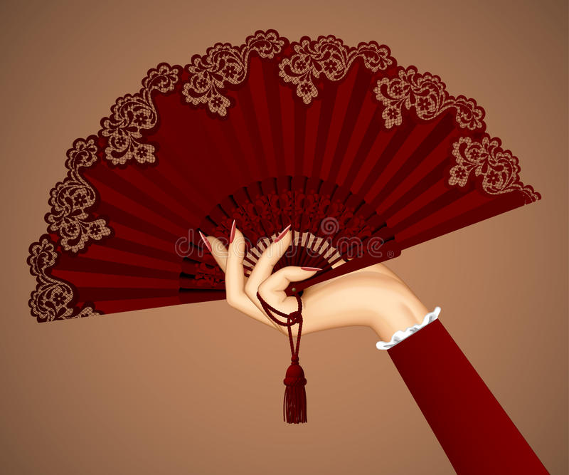 Mano femminile con il fan d'annata aperto nei colori marroni royalty illustrazione gratis