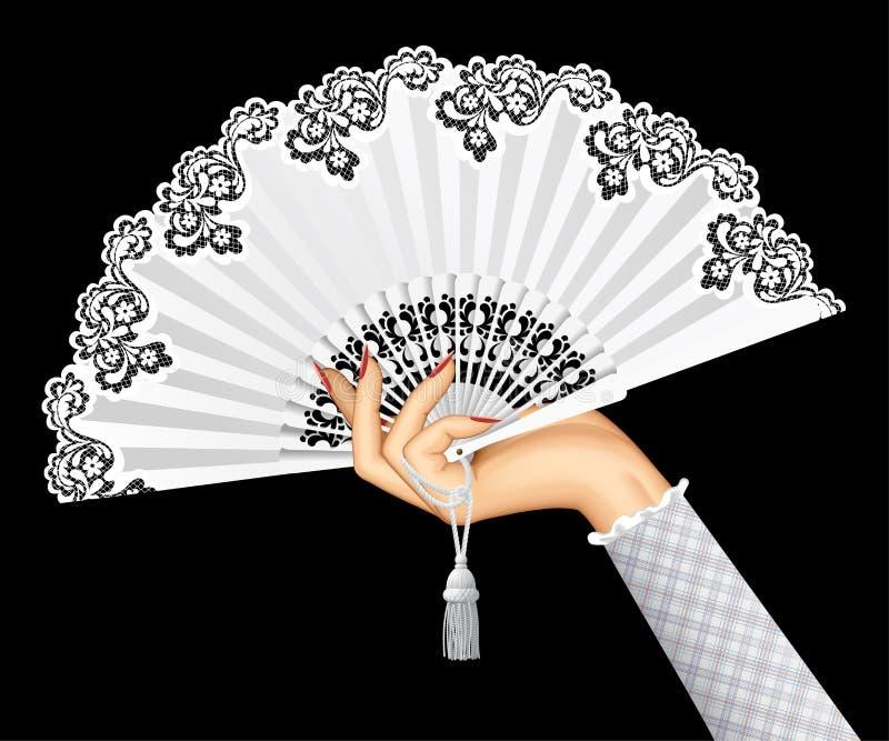 Mano femminile con il fan d'annata bianco aperto isolato su backgr nero royalty illustrazione gratis