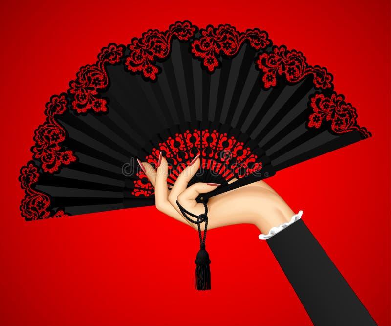 Mano femminile con il fan d'annata nero aperto sulle sedere della luce rossa royalty illustrazione gratis