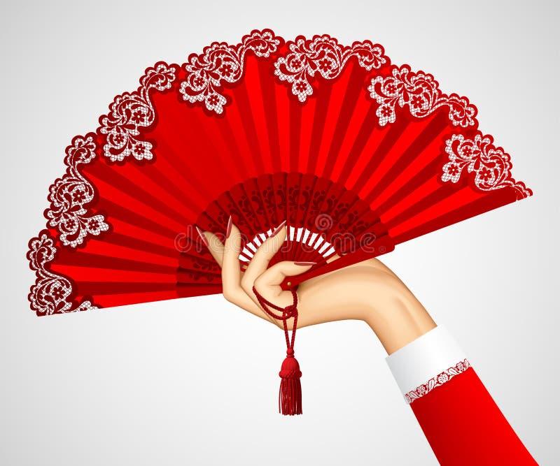 Mano femminile con il fan rosso d'annata aperto su bianco illustrazione vettoriale