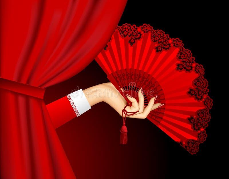Mano femminile con il fan rosso d'annata aperto su bianco royalty illustrazione gratis