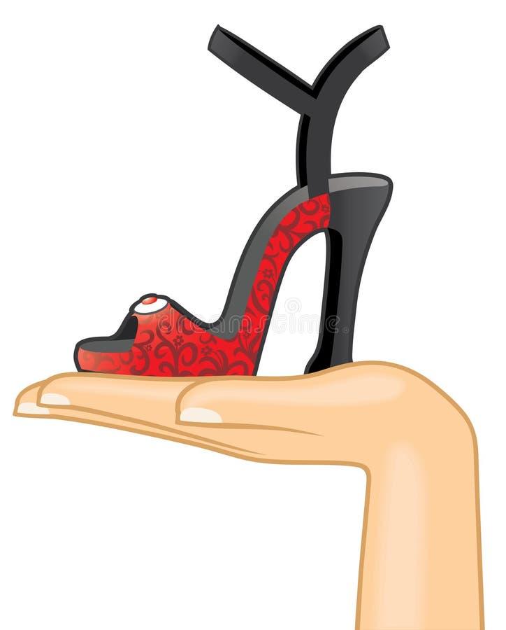 Mano femminile con il sandalo royalty illustrazione gratis