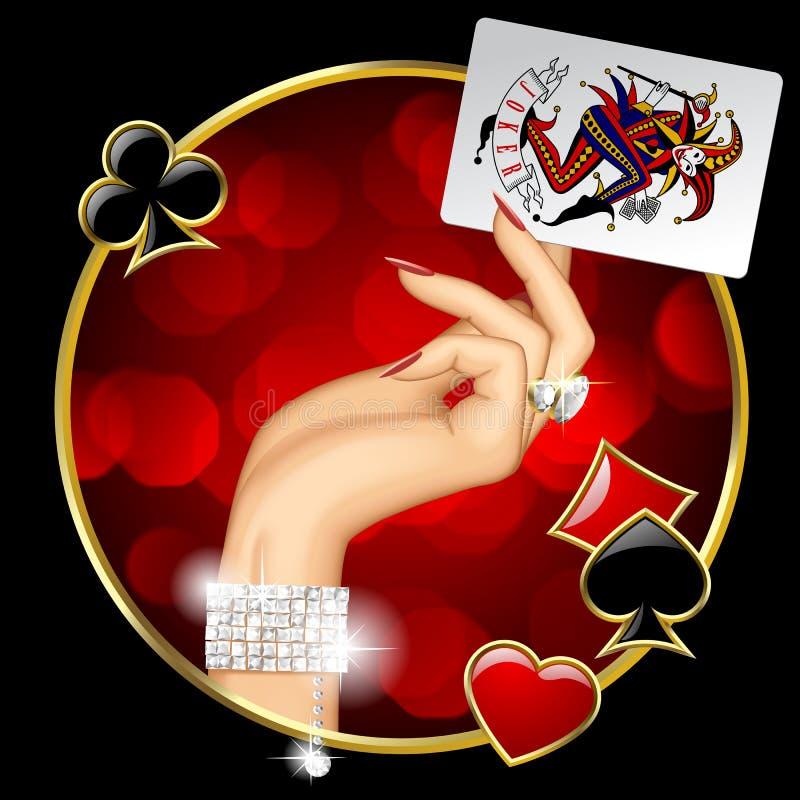 Mano femminile con la carta da gioco del burlone illustrazione di stock