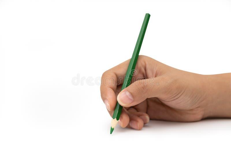 Mano femminile con la matita di colore verde isolata su bianco fotografia stock