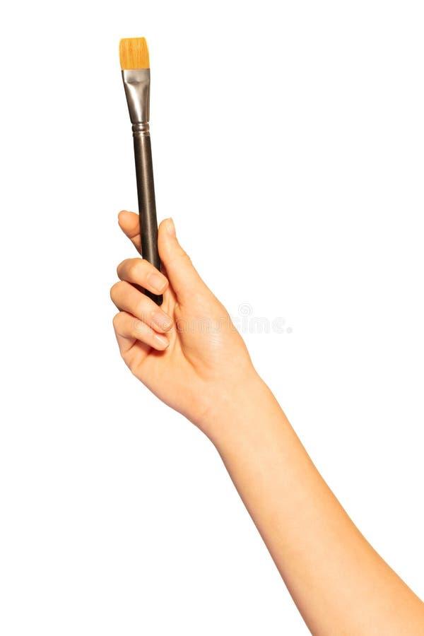 Mano femminile con la spazzola dello shader su fondo bianco fotografie stock