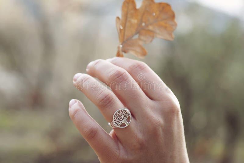 Mano femminile con un bell'anello d'argento fotografia stock