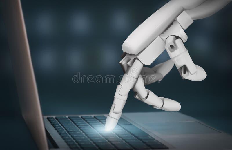 Mano futurista del robot que mecanografía en el teclado del ordenador portátil imagen de archivo libre de regalías