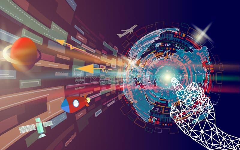 Mano geométrica que toca la pantalla abstracta colorida de la tecnología digital con el mapa del mundo stock de ilustración