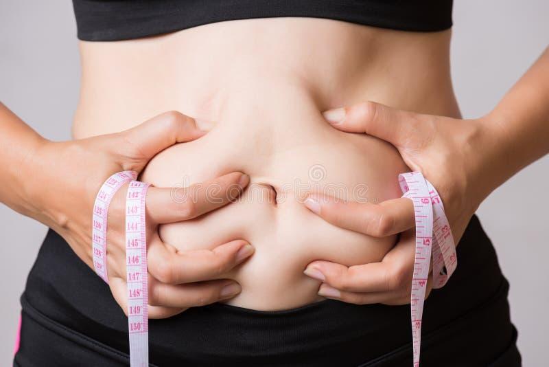 Mano gorda de la mujer que sostiene la grasa excesiva del vientre con la cinta métrica Atención sanitaria y concepto de la forma  imagenes de archivo