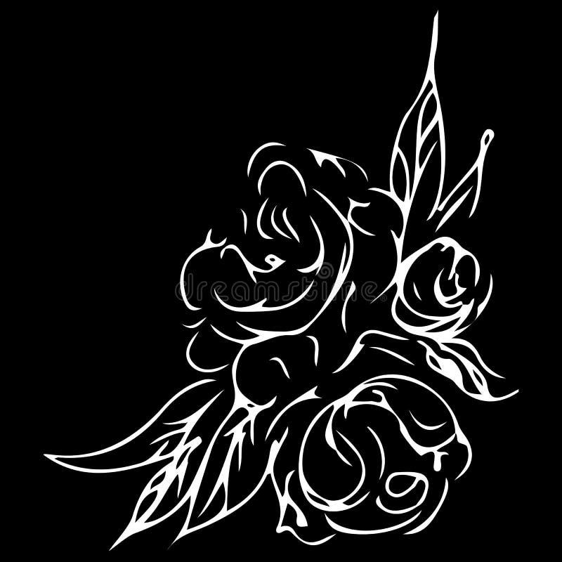 Mano grabada del esquema de las peonías Sola l?nea ejemplo del vector Decoraci?n moderna Grabado del dibujo Floral decorativo del libre illustration