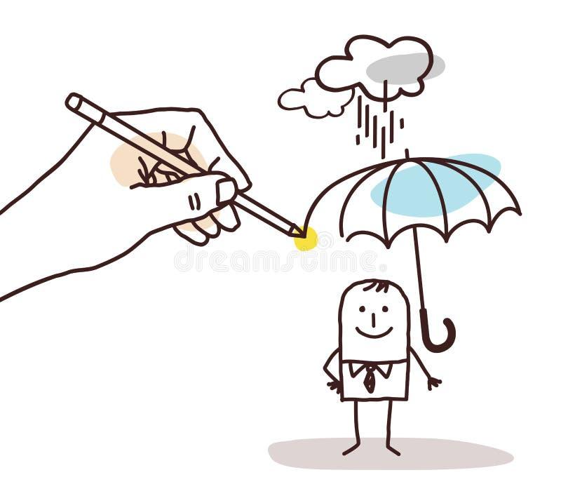 Mano grande de dibujo - hombre de la historieta con el paraguas ilustración del vector