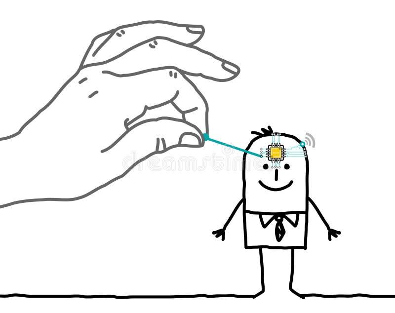 Mano grande que pone un microchip en una cabeza del ` s del hombre de la historieta stock de ilustración