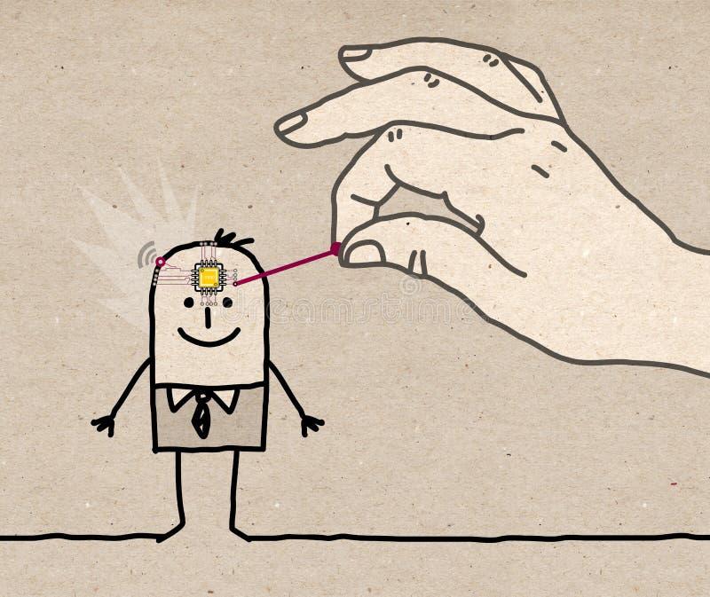 Mano grande que pone un microchip en una cabeza del ` s del hombre de la historieta ilustración del vector