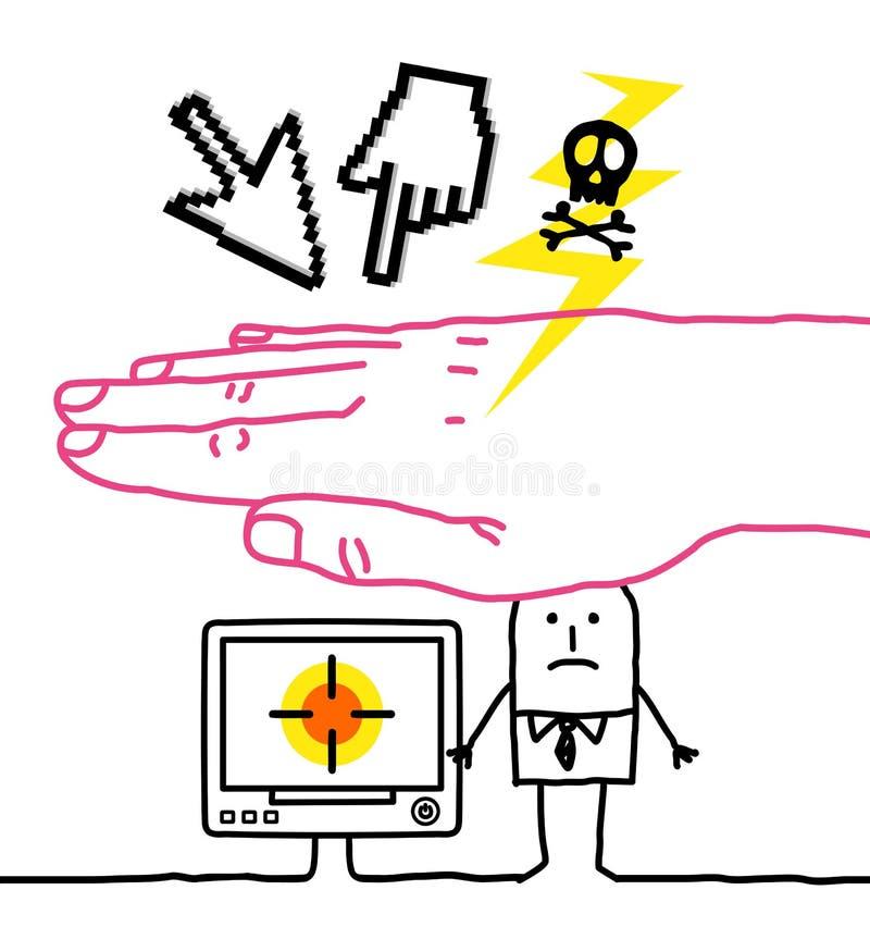 Mano grande y personajes de dibujos animados - ciberdelincuencia ilustración del vector
