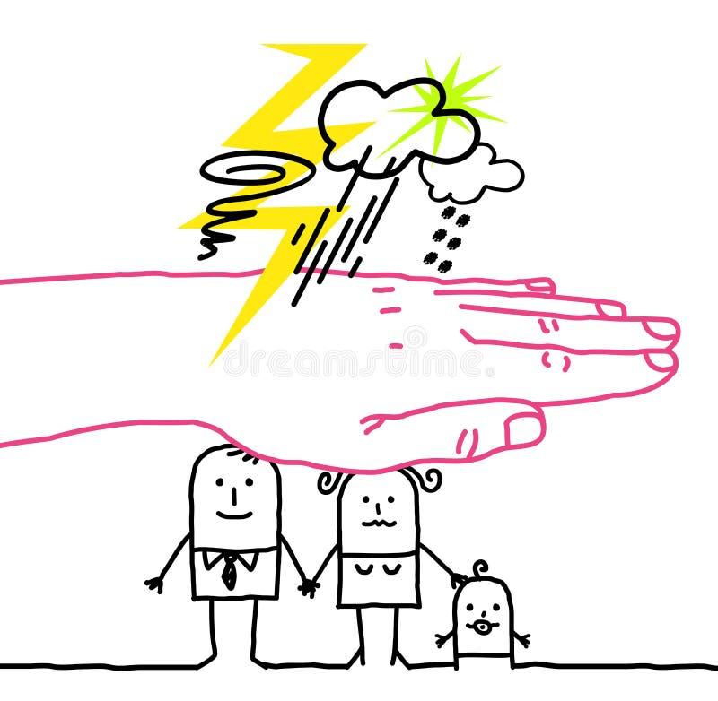 Mano grande y personajes de dibujos animados - desastre libre illustration