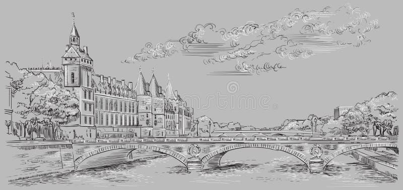 Mano gris del vector que dibuja París 5 libre illustration