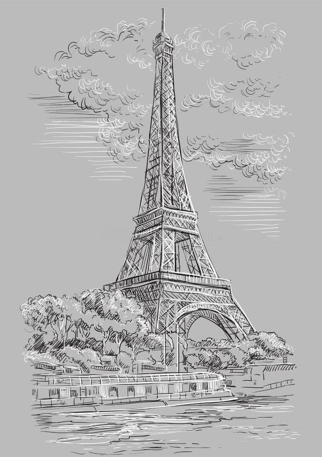 Mano gris del vector que dibuja París 1 stock de ilustración