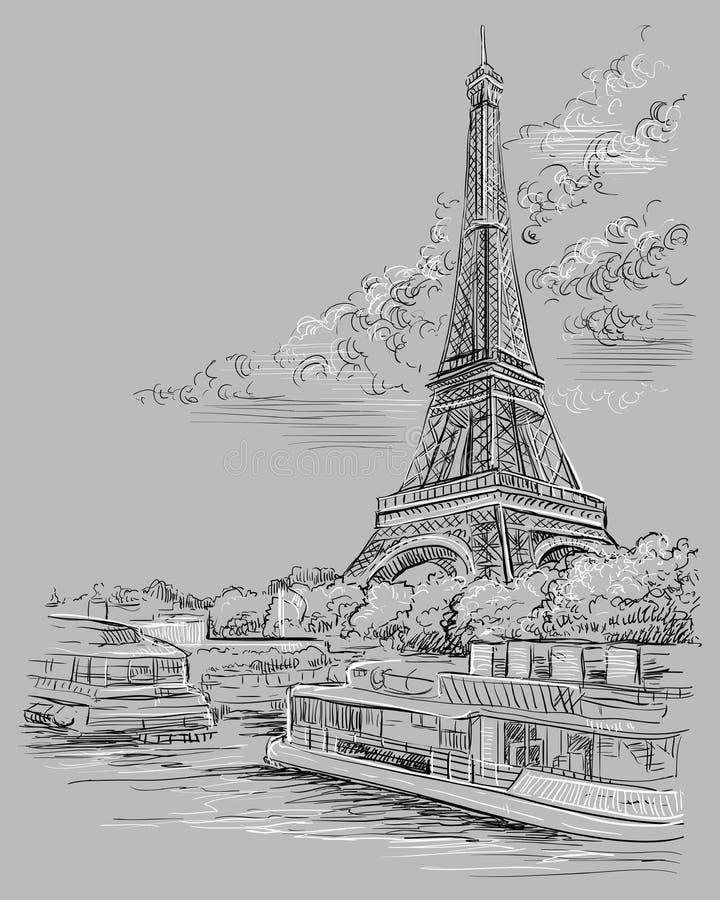 Mano gris del vector que dibuja París 3 stock de ilustración
