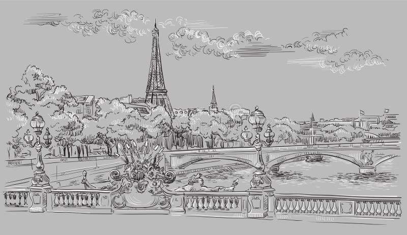 Mano gris del vector que dibuja París 8 stock de ilustración