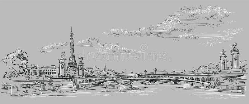 Mano gris del vector que dibuja París 4 stock de ilustración