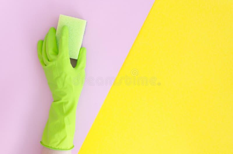 Mano in guanto verde con la spugna sul fondo spaccato luminoso di colore di rosa giallo Bitonale vibrante posto piano dello spazi immagine stock