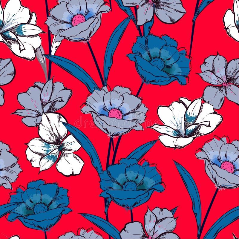 Mano hermosa del verano dibujada para bosquejar las flores florecientes en el modelo inconsútil de la repetición floral del jardí ilustración del vector