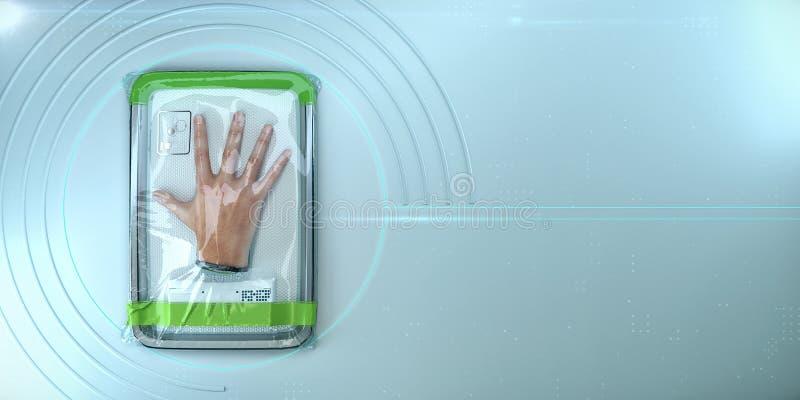 Mano humana, órgano biónico lleno en abrigo plástico del vacío concepto de substituir los órganos dispensadores de aceite asisten stock de ilustración