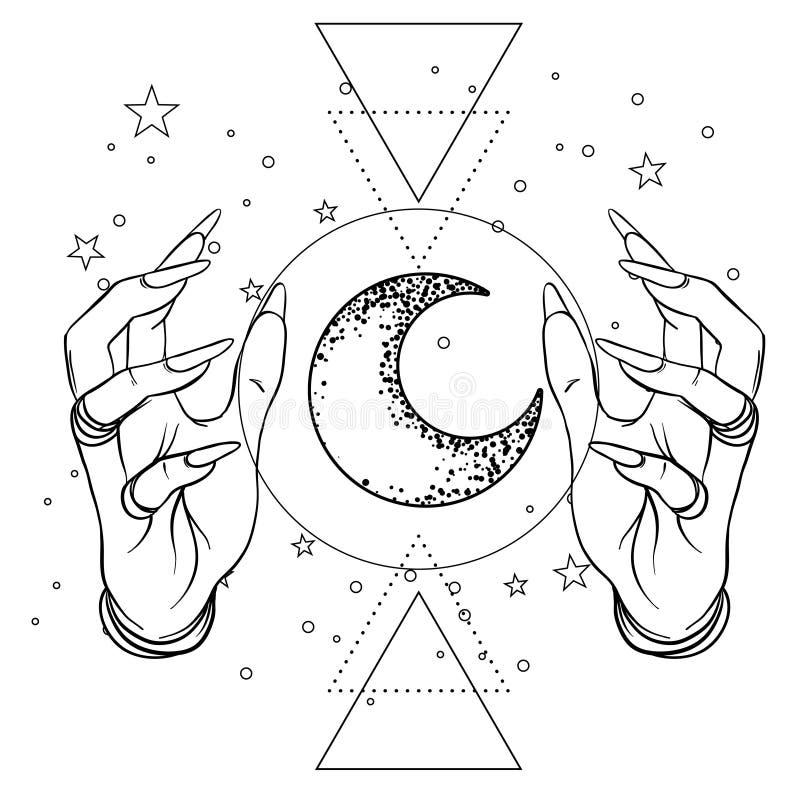 Mano humana con el espacio y los símbolos sagrados de la geometría Tatto de Dotwork ilustración del vector