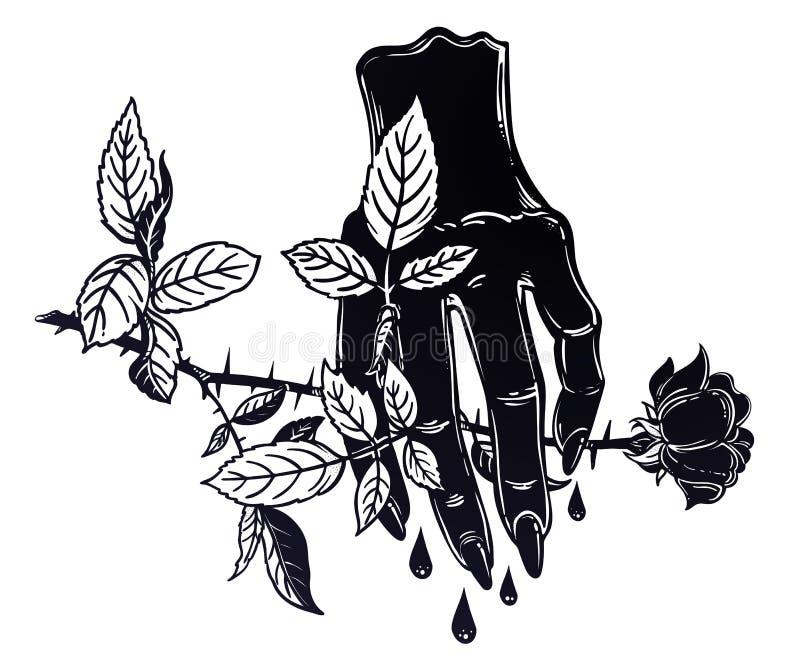 Mano humana de la sangría malvada femenina que sostiene una rosa libre illustration