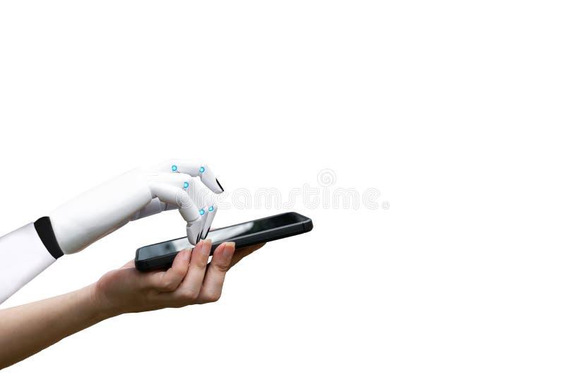 Mano humana de la transición robótica de la inteligencia artificial a la prensa de la mano del robot el botón del smartphone imagenes de archivo