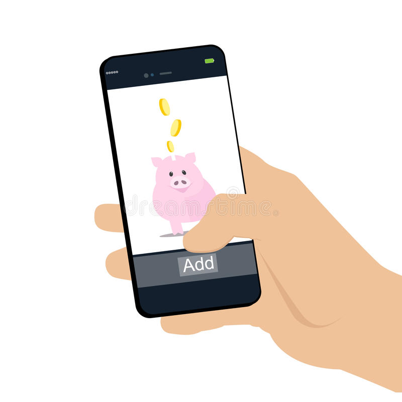 Mano humana de las actividades bancarias móviles que sostiene un teléfono y terraplenes el suyo guarro libre illustration