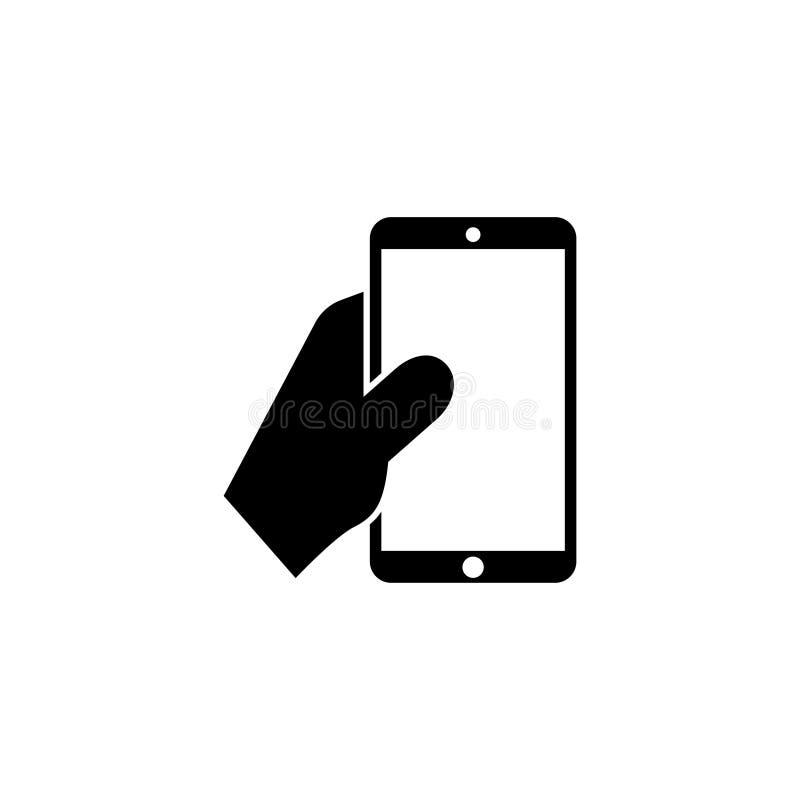 Mano humana que lleva a cabo el icono del vector de Smartphone libre illustration
